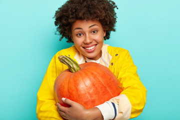 Cozy autumn vibes. Pleased smiling young Afro American woman embraces big pumpkin, celebrates Thanksgivig day, dressed in yellow raincoat, has happy expression, isolated over blue background.