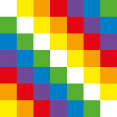 The Wiphala is the flag of the Andean nation. It is a quadrangular Andean symbol, it represents equality and harmony. The flag has the colors of the rainbow. Vector image