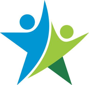 Teamwork Colorful Star Logo Template Illustration Design. Vector EPS 10.