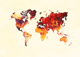 Watercolor world map artistic design, superior quality, colorful textures, modern