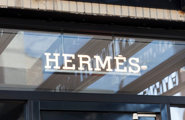 New York, New York, USA - October 1, 2019: Sign over a Hermes retail store in the meatpacking district.