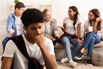 Upset girl feeling lonely, avoid talking to people