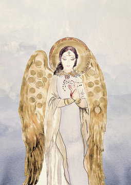 Watercolor angel. Christian background