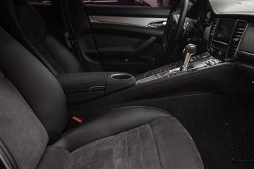 Modern car interior. Automatic transmission.