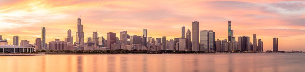 Deurstickers Chicago Chicago downtown buildings skyline panorama