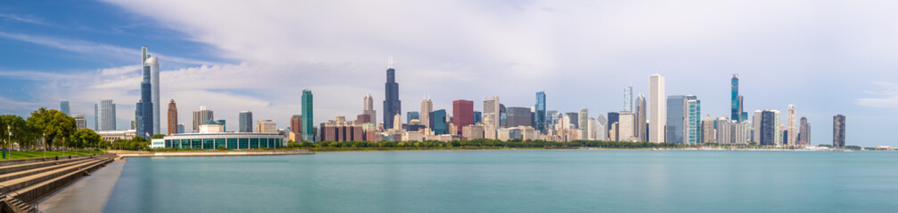 Fototapete - Chicago downtown buildings skyline panorama