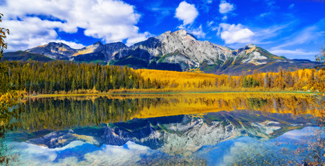 Rocky Mountain Lake In Fall