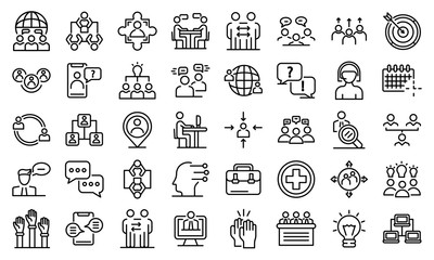 Obraz Advice icons set. Outline set of advice vector icons for web design isolated on white background - fototapety do salonu