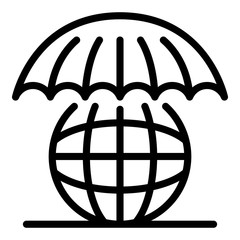 Globe under an umbrella icon. Outline globe under an umbrella vector icon for web design isolated on white background