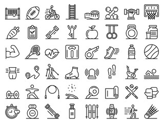 Outdoor fitness icons set. Outline set of outdoor fitness vector icons for web design isolated on white background