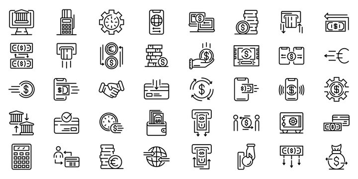Money transfer icons set. Outline set of Money transfer vector icons for web design isolated on white background