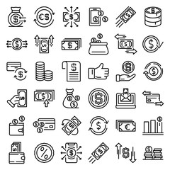 Cash back icons set. Outline set of cash back vector icons for web design isolated on white background