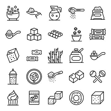 Sugar icons set. Outline set of sugar vector icons for web design isolated on white background