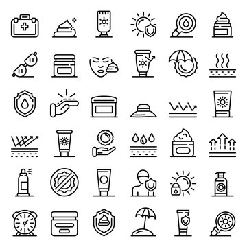 Uv protection icons set. Outline set of uv protection vector icons for web design isolated on white background