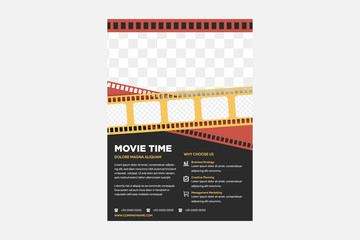 Cinema Movie Festival Poster Card Template with Realistic Clapper Board for Ad, Invitation, Presentation . Vector illustration of Film flyer. layout space for photo collage. red, yellow and black