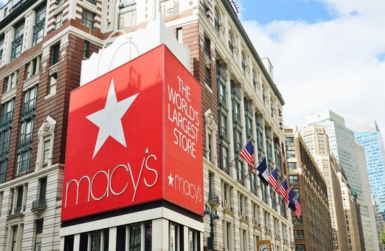 NEW YORK CITY, NY -4 OCT 2019- View of a giant red gift bag outside the landmark Macys department store in Herald Square, New York, USA.