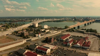 Fotomurales - Clarksville Indiana aerial perspective over the Ohio River