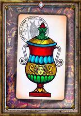 In de dag Imagination Ace of tarot cups on a background of esoteric cards, and astrological and alchemical symbols