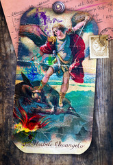 Spoed Foto op Canvas Imagination St. Michael the Archangel, a sacred image of ancient, popular and devotional art