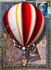 Spoed Fotobehang Imagination Fantastic and steampunk hot air balloon with ancient Italian symbols and stamps