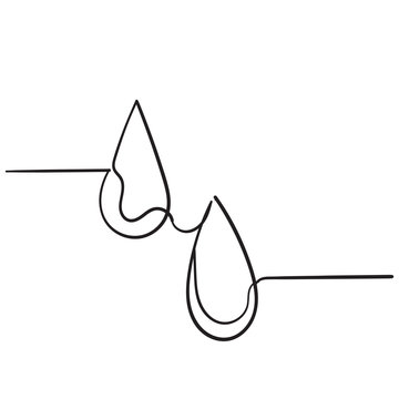 Water drops icon. Liquid drop symbol illustration with handdrawn doodle style