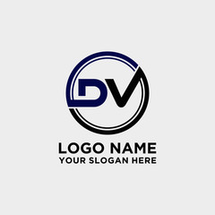 Circle logo with the letter DV inside. letters connecting with circles. Logo circle modern abstract