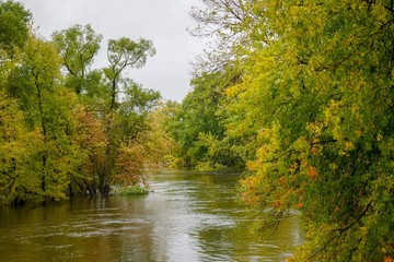 Flowing river water in Autumn