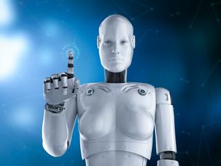 Female cyborg or robot finger point