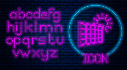 Glowing neon Solar energy panel and sun icon isolated on brick wall background. Neon light alphabet. Vector Illustration Wall mural