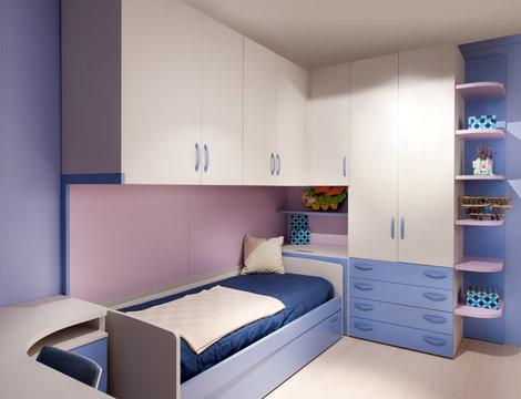 Elegant purple and blue decorated kids bedroom