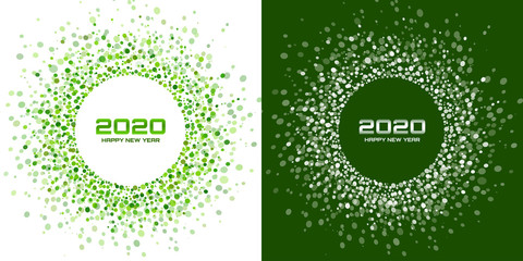 New Year 2020 night background party set. Greeting cards. Green glitter paper confetti. Glistening festive lights. Glowing circle frame happy new year wishes. Christmas green white backdrops. Vector