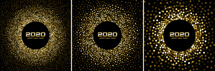 New Year 2020 night background party set. Greeting cards. Gold glitter paper confetti. Glistening golden festive lights. Glowing circle frame happy new year wishes. Christmas gold collection. Vector Fototapete