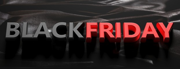 Wall Mural - Black Friday text letters red and black color against black background. 3d illustration