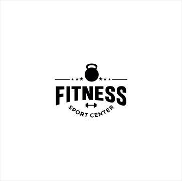 Fitness logo Design. GYM logo Icon.Cross fit logo Template.Women fitness Logo Black Vintage Hipster Retro
