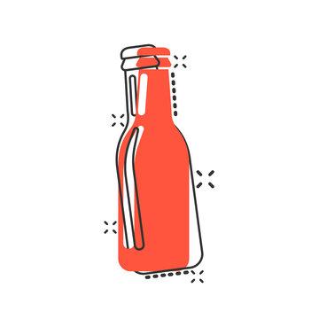 Vector cartoon wine, beer, water bottle icon in comic style. Alcohol bottle concept illustration pictogram. Beer, vodka, wine business splash effect concept.