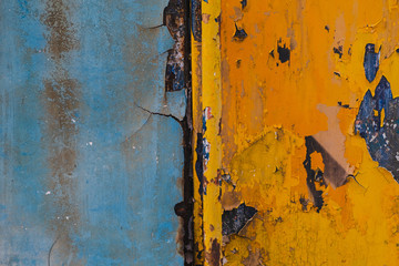 Blue and yellow metal background,Rusty metal background