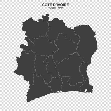 political map of Cote Divoire isolated on transparent background