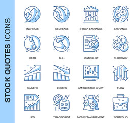 Thin Line Stock Quotes Related Vector Icons Set for Website and Mobile Site and Apps. Outline icons design. Contains such Icons as IPO, Portfolio, Money Management and more. Linear Pictogram Pack.