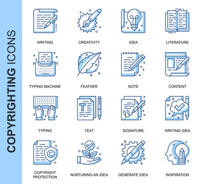 Thin Line Copyrighting Related Vector Icons Set for Website and Mobile Site and Apps. Outline icons design. Contains such Icons as Typing Machine, Signature, Process and more. Linear Pictogram Pack.