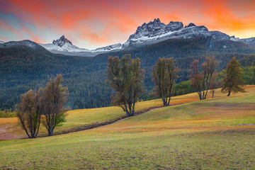 Wall Mural - Spectacular autumn landscape in Dolomites near Cortina d Ampezzo, Italy