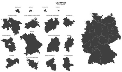 political map of Germany isolated on white background Fototapete