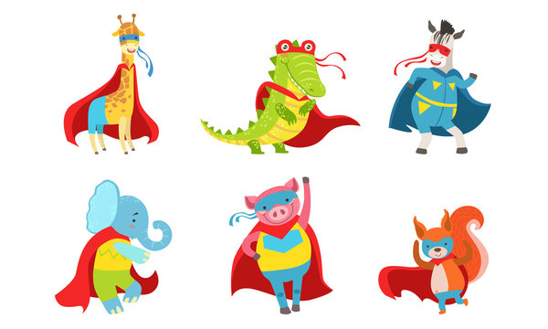 Cartoon animals in costumes of superheroes. Vector illustration.