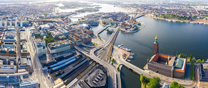 Stockholm, Sweden. Panorama of the city. Stockholm City Hall overlooks the business and historical part of the city. Built in 1923, red brick town hall