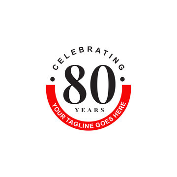 80th years celebrating anniversary icon logo design vector template