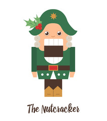Vector Nutcracker with holly on his hat. Cute winter fairytale illustration isolated on white background. Funny flat style character for Christmas, New Year or winter design.