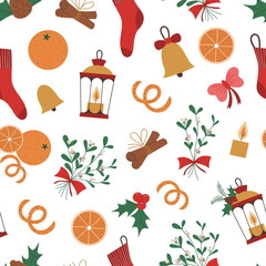 Vector seamless pattern of Christmas elements with lantern, stoking, orange, mistletoe, candle. Cute funny repeat background of new year symbols. Christmas flat style picture