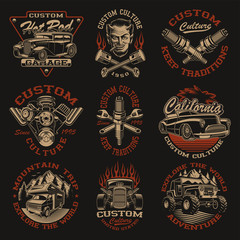 Set of vector designs in vintage style for transportation theme