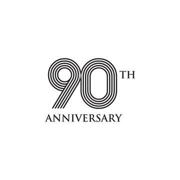 90th years celebrating anniversary icon logo design vector template