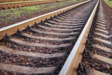 Close up railway track. Part of the railroad