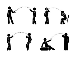 mobile data transfer, man and phone icons, people interacting and talking, calls and sms stick figure pictogram, isolated human silhouettes